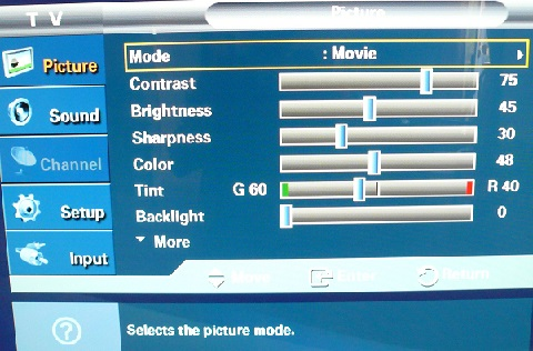 Calibration HDTV Samsung